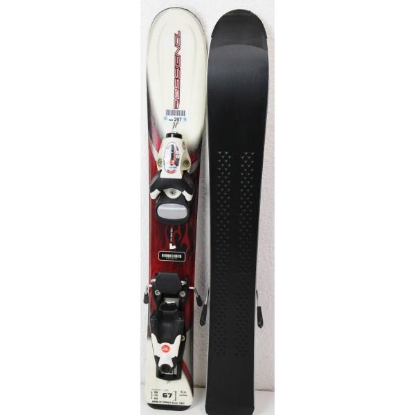 Pack Ski Rossignol Bandit + Fixations Comp Kid Rouge - état 1